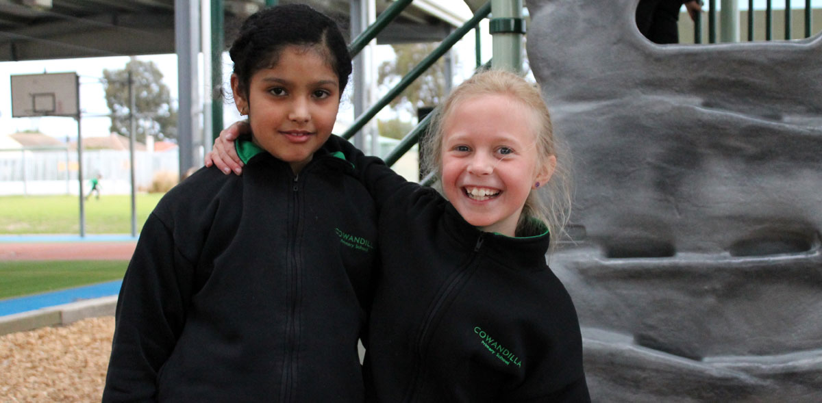 Students smiling in playground